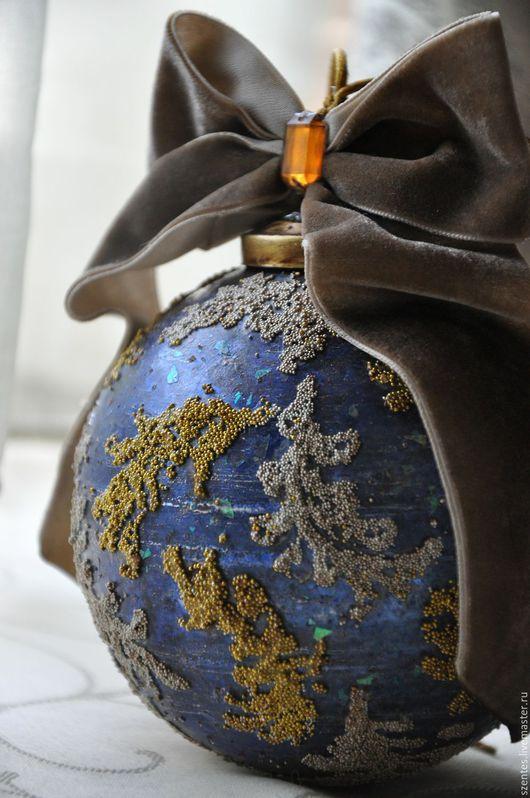 Новый год 2017 ручной работы. Ярмарка Мастеров - ручная работа. Купить Елочный шар ,,Антикварный,,. Handmade. Тёмно-синий