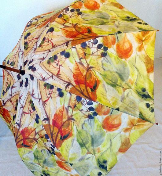 Зонты ручной работы. Ярмарка Мастеров - ручная работа. Купить ЕЖЕВИКА авторский зонтик. Handmade. Оранжевый, желтый, зонт-трость