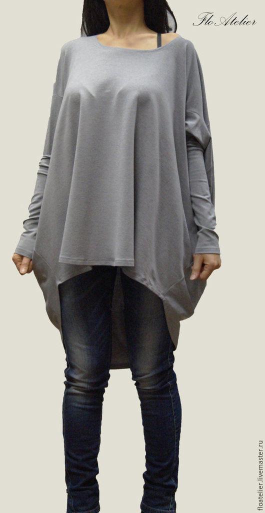 Блузки ручной работы. Ярмарка Мастеров - ручная работа. Купить Серая блузка из хлопка/Повседневная туника/F1073. Handmade. Туника, одежда для женщин