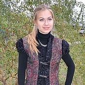 Одежда ручной работы. Ярмарка Мастеров - ручная работа Жилет из павловопосадского платка валяный с мехом. Handmade.