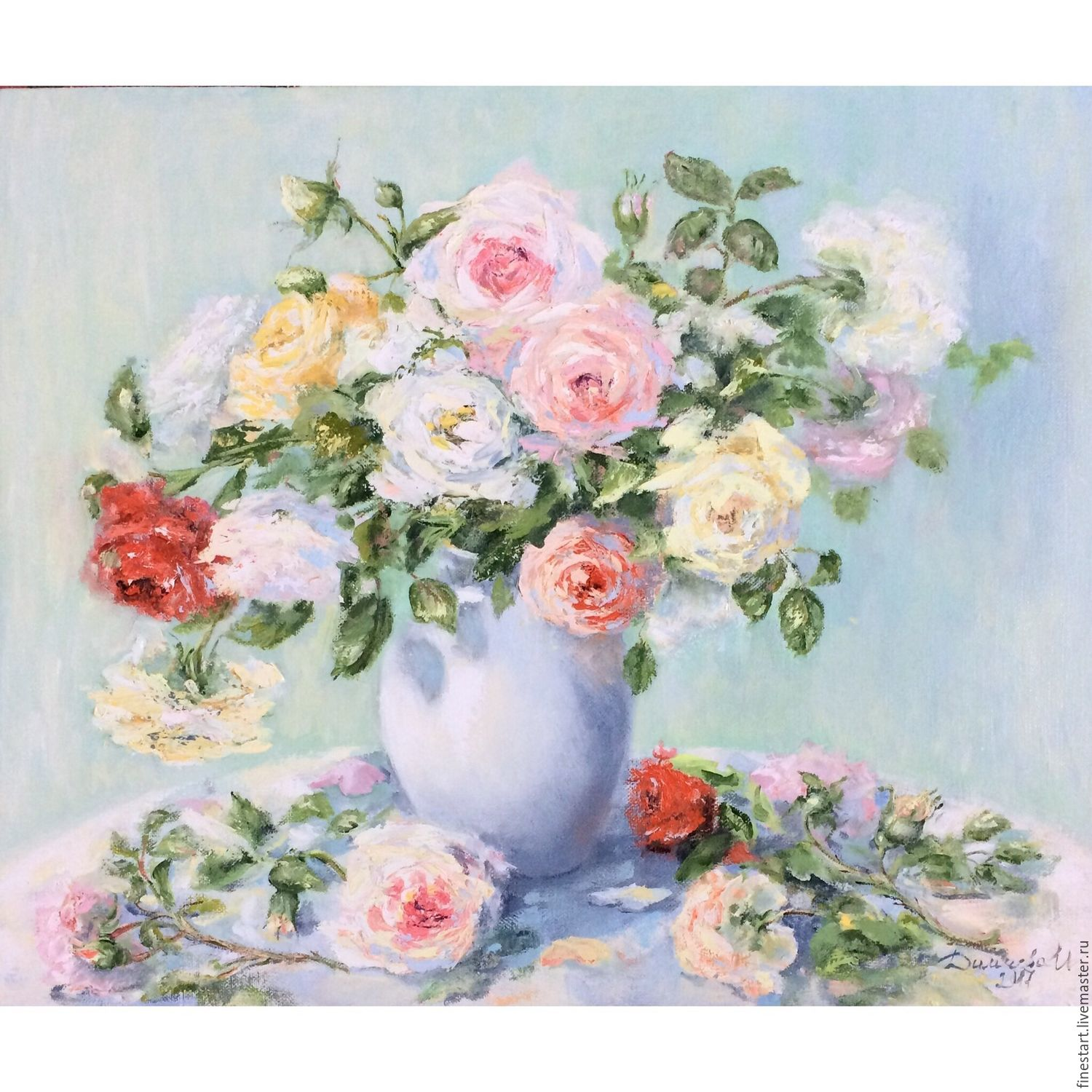 Oil painting the Morning still life bouquet flowers roses – shop ...