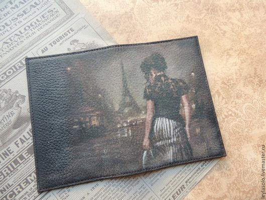 Обложки ручной работы. Ярмарка Мастеров - ручная работа. Купить обложка  для паспорта из кожи Парижанка. Handmade. Черный, обложка
