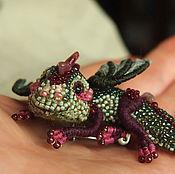 "handmade. Livemaster - original item Dragon brooch ""Ruby"". Brooch beads. Embroidered dragon.. Handmade."