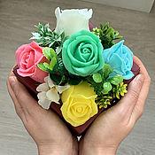 Косметика ручной работы handmade. Livemaster - original item Soap bouquet in a box Green roses. Handmade.