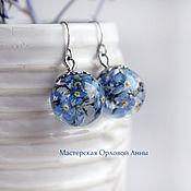 Украшения handmade. Livemaster - original item Forget me not earrings Forget me nots Resin jewelry. Handmade.