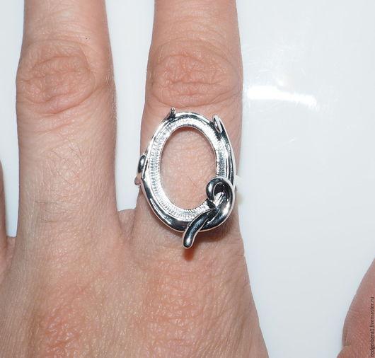 """Для украшений ручной работы. Ярмарка Мастеров - ручная работа. Купить Основа для кольца """"Милана"""" - серебрение 925 пробы. Handmade."""