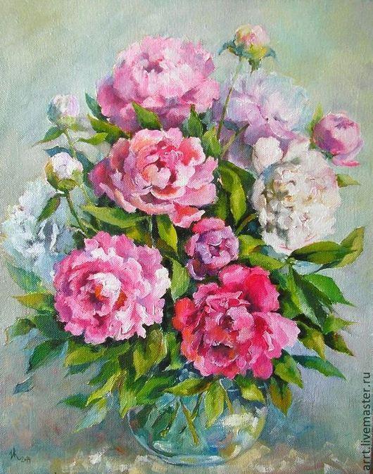 Картины цветов ручной работы. Ярмарка Мастеров - ручная работа. Купить Пионы розовые и белые Картина холст масло 50на40см. Handmade.