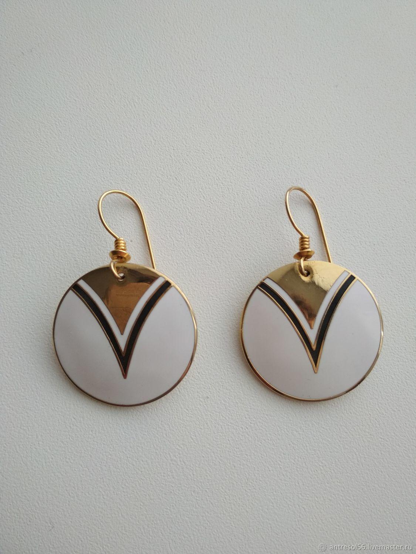 Vintage roccoco earrings ' White enamel', Vintage earrings, Orenburg,  Фото №1