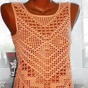Одежда handmade. Livemaster - original item Crochet top. Apricot taste. Cardigan.. Handmade.
