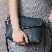 Сумки и аксессуары handmade. Livemaster - original item Bag dark blue -2 with genuine leather strap