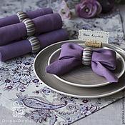 """""""Индийская сирень"""" комплект текстильная дорожка и салфетки с кольцами."""