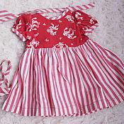 Винтаж ручной работы. Ярмарка Мастеров - ручная работа винтажное хлопковое платье для куклы или мишки. Handmade.