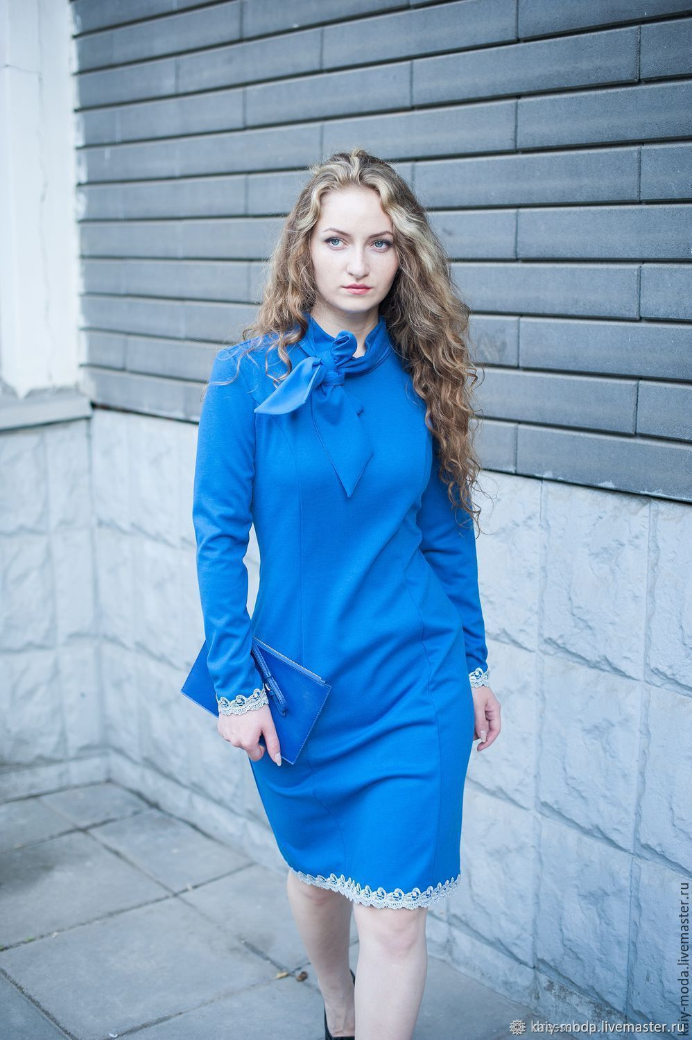 Jersey dress with bow and lace - blue, Dresses, Moscow,  Фото №1