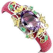Украшения handmade. Livemaster - original item Stingray leather bracelet with amethyst and emeralds.. Handmade.