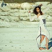 Одежда handmade. Livemaster - original item Long White Cotton Maxi Dress. Handmade.