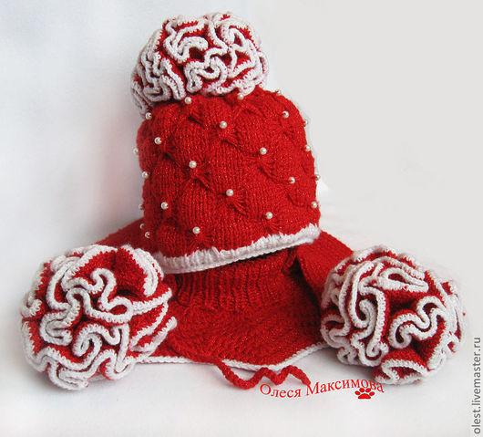 Детские аксессуары ручной работы. Ярмарка Мастеров - ручная работа. Купить Вязаный зимний комплет шапка, шарфик, манишка. Handmade.