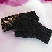 Аксессуары handmade. Livemaster - original item Knitted mittens with beads under pearls, half-wool.. Handmade.