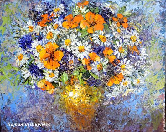 """Картины цветов ручной работы. Ярмарка Мастеров - ручная работа. Купить """"Лето - Это Маленькая Жизнь"""" - картина маслом букет ромашек. Handmade."""