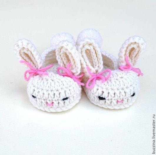 Для новорожденных, ручной работы. Ярмарка Мастеров - ручная работа. Купить Пинетки для девочки Зайчата пинетки теплые из шерсти. Handmade.