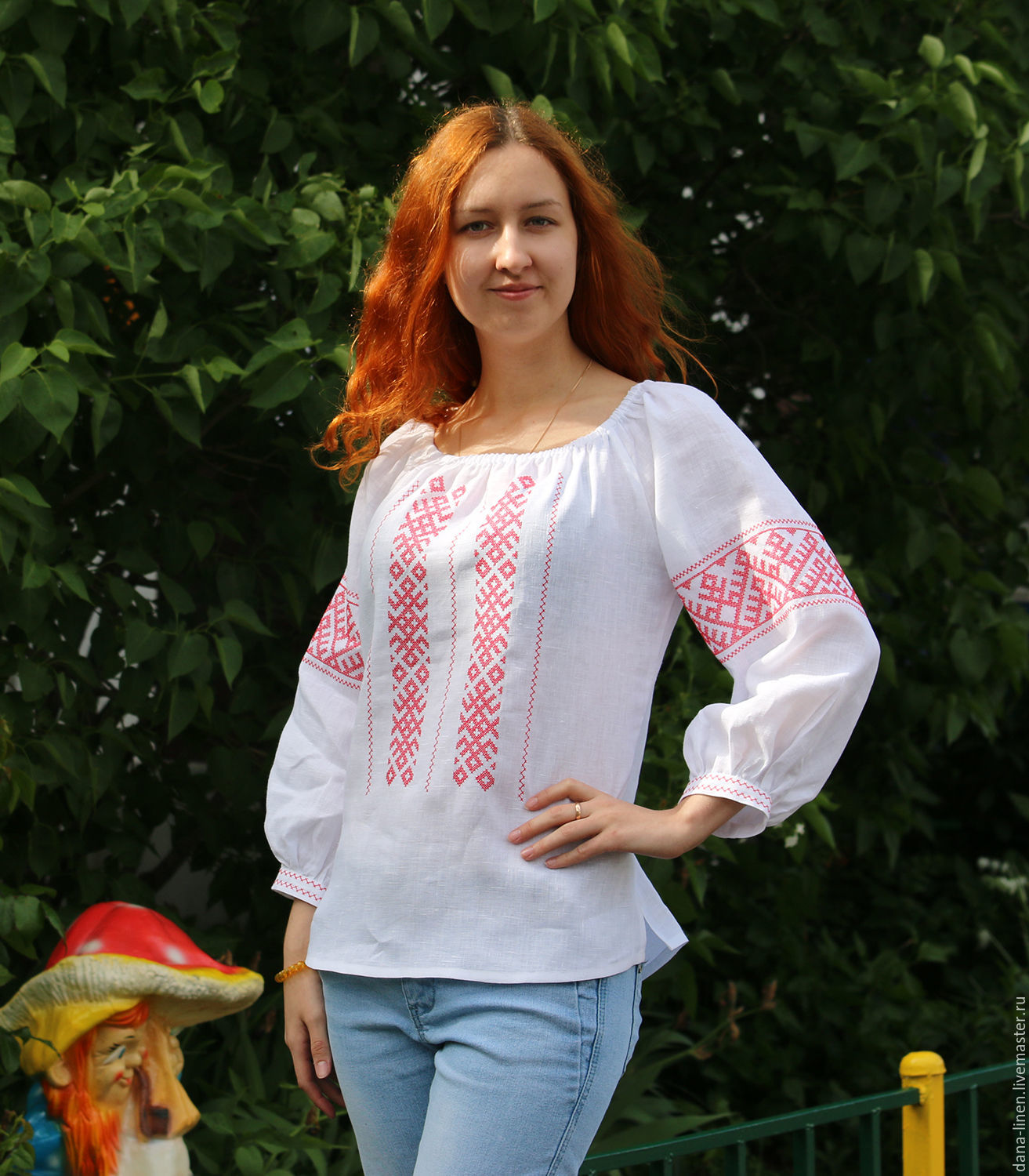 Women's shirt with oberezhnoy embroidery of linen Makosh, People\\\'s shirts, Moscow,  Фото №1
