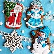 Сувениры и подарки handmade. Livemaster - original item Christmas gingerbread : Grandfather Frost, Snow Maiden, Snowman. Gingerbread on the Christmas tree. Handmade.
