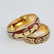 Свадебный салон ручной работы. Ярмарка Мастеров - ручная работа Кладдахские обручальные кольца с эмалью. Handmade.