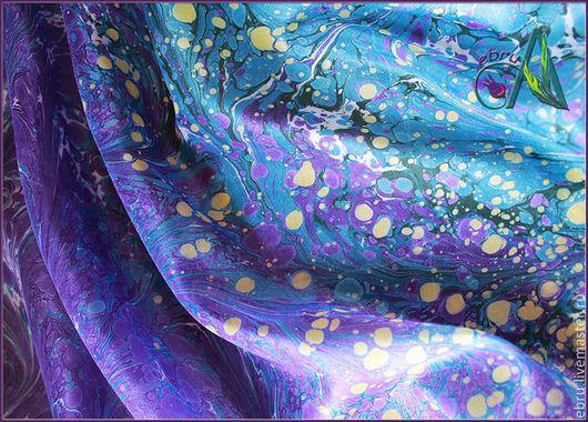 `Краски млечного пути в Эбру` - платок в технике эбру  выполнен мастером Ивановой Анной (Ann Iva)
