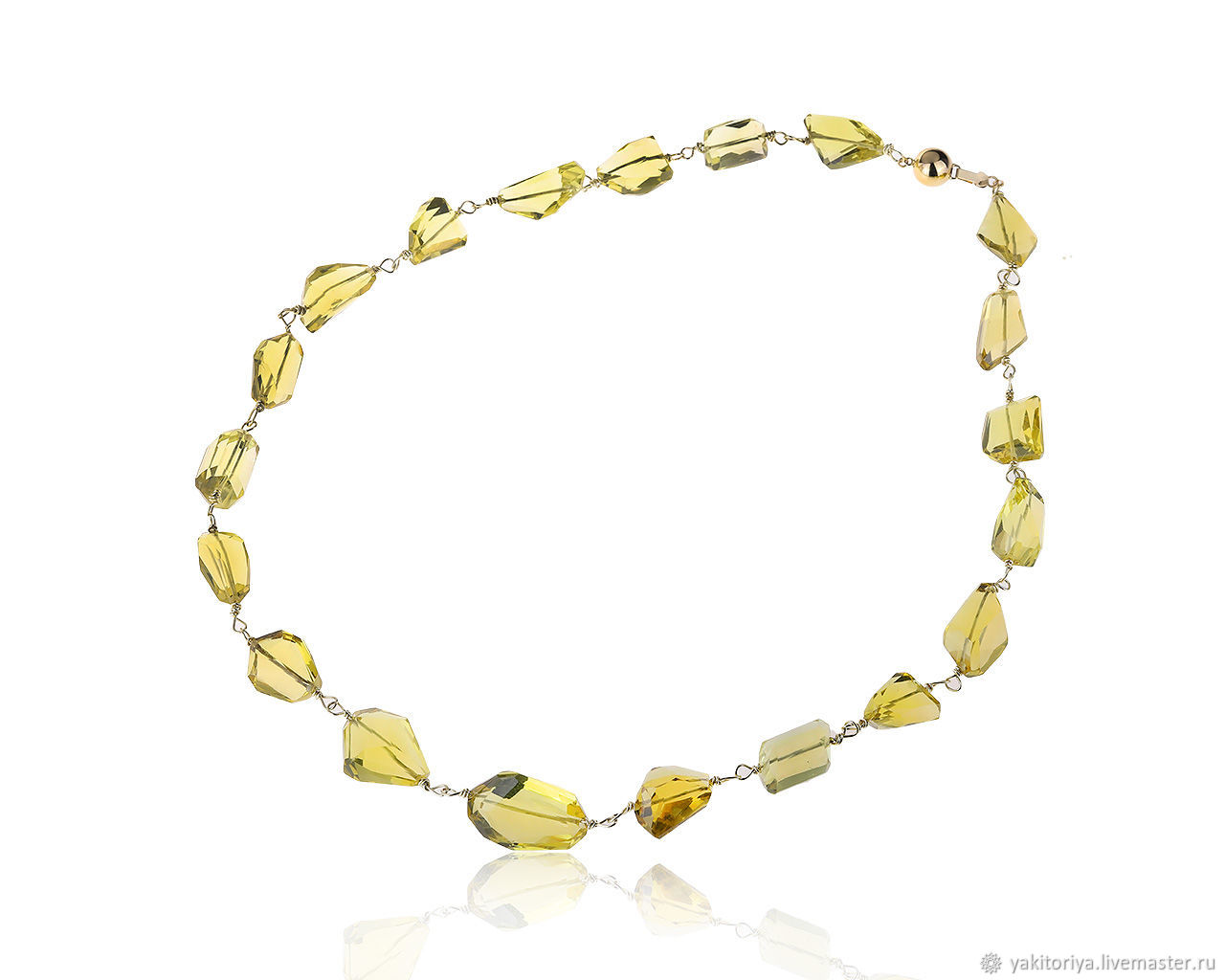 Necklace made of lemon topaz 396ct and German Kabirski gold, Necklace, Moscow,  Фото №1