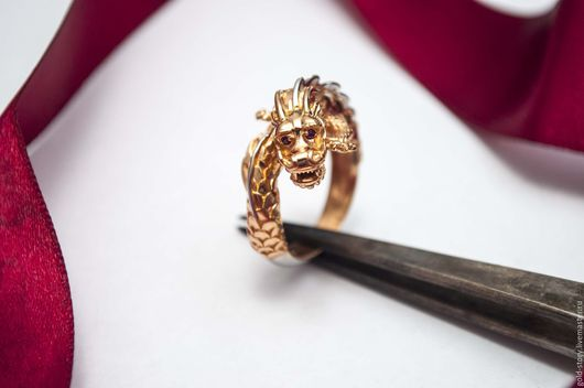 Кольца ручной работы. Ярмарка Мастеров - ручная работа. Купить Золотое кольцо Золотой дракон. Handmade. Золотой, золотой дракон