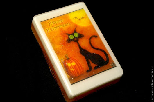 Подарки на Хэллоуин ручной работы. Ярмарка Мастеров - ручная работа. Купить Светящееся мыло Хеллоуин Кошка в коробочке. Happy Halloween!. Handmade.