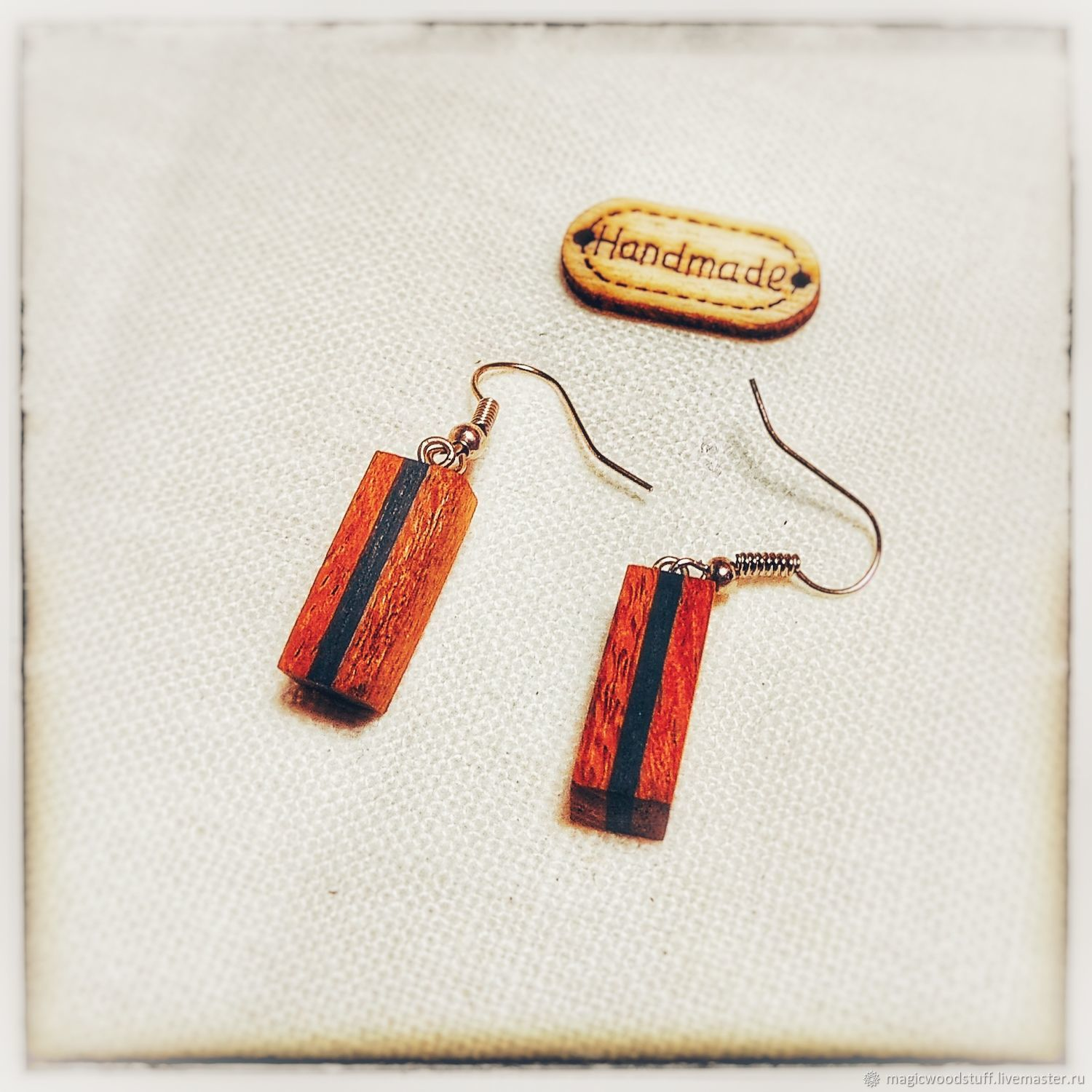 Earrings made of exotic wood, Earrings, Moscow,  Фото №1