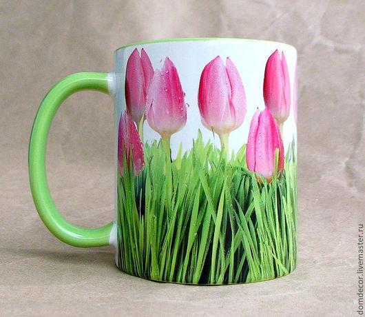 """Кружки и чашки ручной работы. Ярмарка Мастеров - ручная работа. Купить Чашка """"Тюльпаны"""". Handmade. Салатовый, весна, день рождения"""