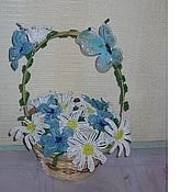 Цветы и флористика ручной работы. Ярмарка Мастеров - ручная работа корзина с цветами. Handmade.