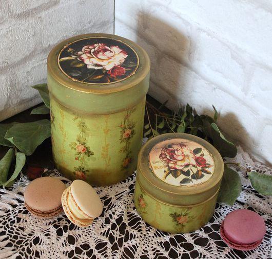 """Шкатулки ручной работы. Ярмарка Мастеров - ручная работа. Купить """"Английский сад"""" баночки. Handmade. Зеленый, баночка для чая"""