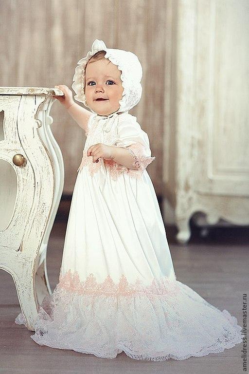 Крестильные принадлежности ручной работы. Ярмарка Мастеров - ручная работа. Купить Крестильное платье. Handmade. Бледно-розовый, кружево
