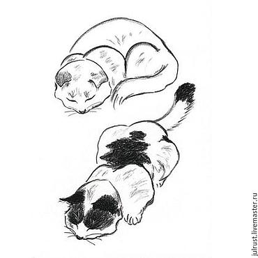 Картины и панно ручной работы. Ярмарка Мастеров - ручная работа Картина Котятки рисунок углем графика кошки черно-белый. Handmade.