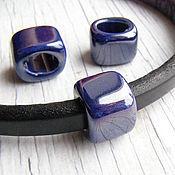 Материалы для творчества ручной работы. Ярмарка Мастеров - ручная работа Керамическая бусина для regaliz (регализ) 14мм синий рег125. Handmade.