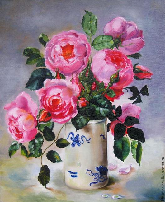 Картины цветов ручной работы. Ярмарка Мастеров - ручная работа. Купить Картина маслом Розовые розы. Handmade. Розовый, розы