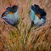 Картины и панно handmade. Livemaster - original item Oil painting with flowers. Sleep-grass. Handmade.