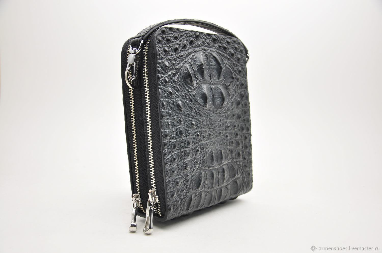 Men's bag made of embossed crocodile skin, in black, Men\'s bag, Tosno,  Фото №1