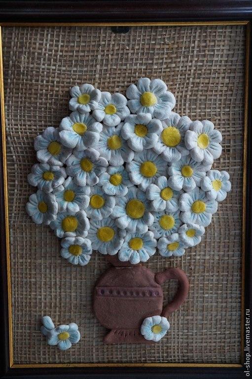 """Картины цветов ручной работы. Ярмарка Мастеров - ручная работа. Купить Картина """"Ромашки"""" из соленого теста. Handmade. Разноцветный"""