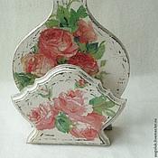 """Для дома и интерьера ручной работы. Ярмарка Мастеров - ручная работа Салфетница """"Шебби-розы"""". Handmade."""