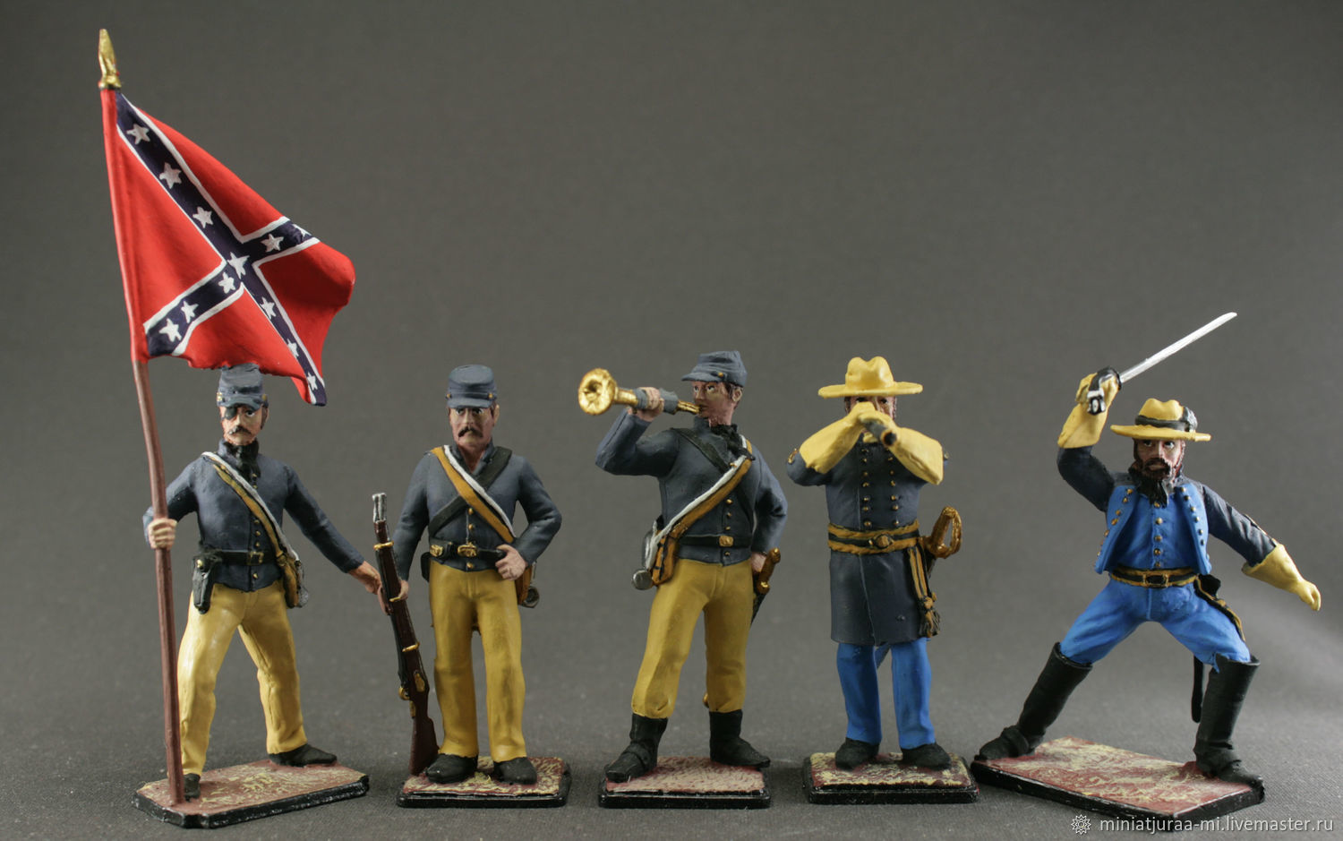 Set of soldiers 5 pieces 54 mm. The civil war in the United States. Confederates, Military miniature, St. Petersburg,  Фото №1