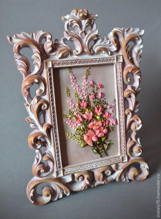 """Картины цветов ручной работы. Ярмарка Мастеров - ручная работа. Купить Картина вышитая лентами """"Этот загадочный вереск"""" (миниатюра). Handmade."""