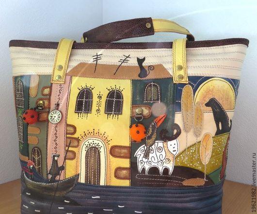 Женские сумки ручной работы. Ярмарка Мастеров - ручная работа. Купить сумка По жизненной реке (кожа). Handmade. Разноцветный