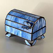 """Для дома и интерьера ручной работы. Ярмарка Мастеров - ручная работа Шкатулка """" Оттенки синего """". Handmade."""