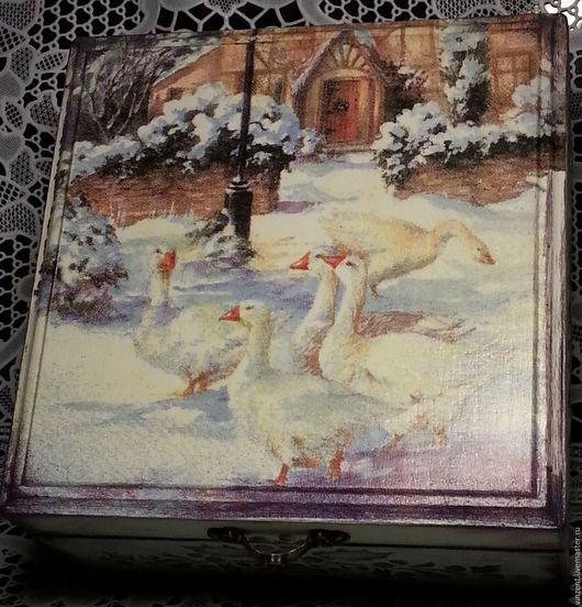 """Шкатулки ручной работы. Ярмарка Мастеров - ручная работа. Купить Шкатулка для чая """"Рождественские гуси""""2. Handmade. Шкатулка, короб для кухни"""