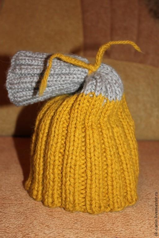 Шапки ручной работы. Ярмарка Мастеров - ручная работа. Купить шапка-мешок. Handmade. Золотой, в полоску, шерсть 100%