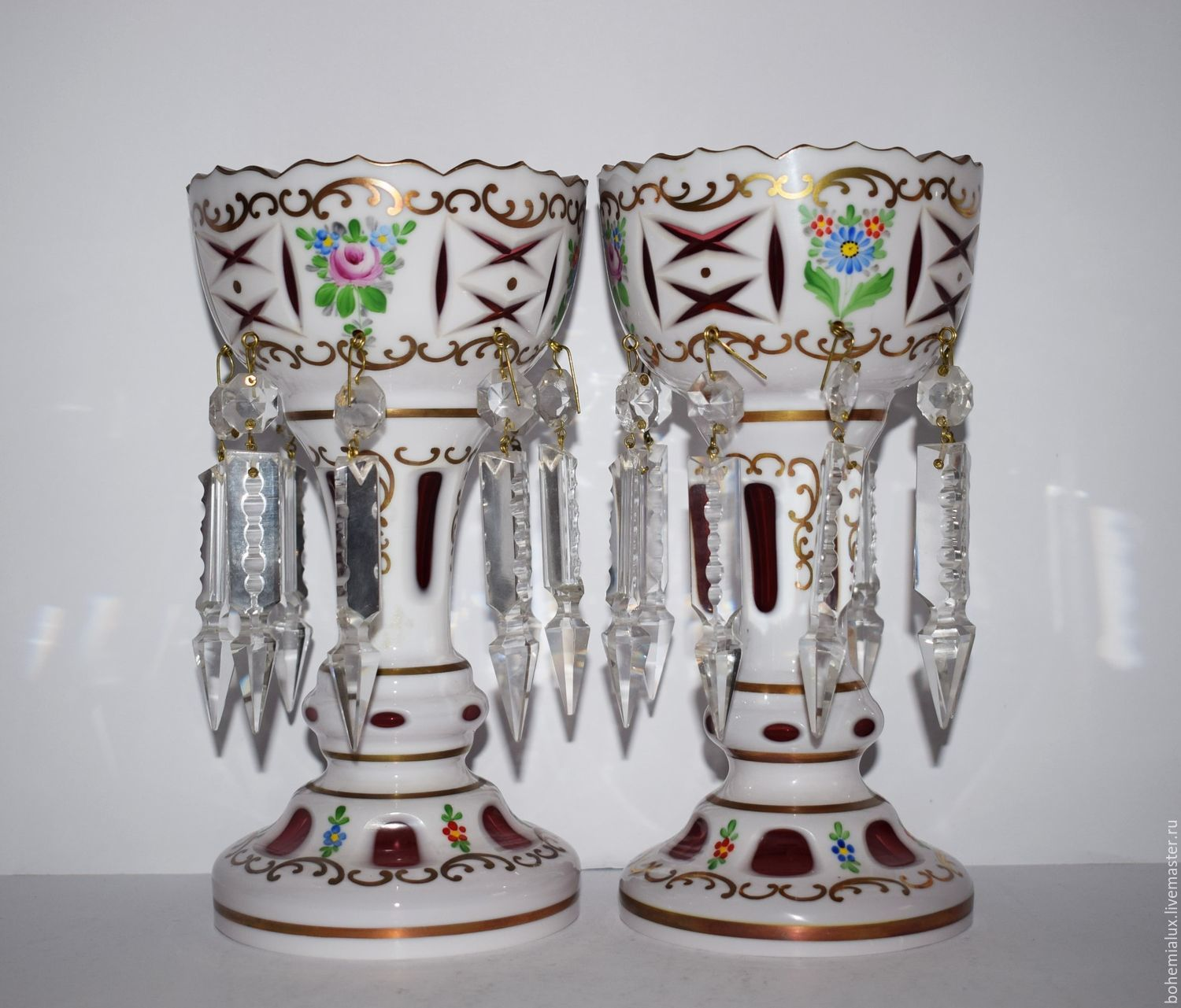 Two decorative vases double layered glass painting pre-war, Vintage interior, Prague,  Фото №1
