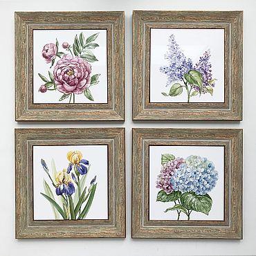 Diseño y publicidad manualidades. Livemaster - hecho a mano Tile painting Set In my garden: peonies, hydrangea, lilacs, irises. Handmade.